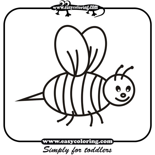 Bee - Simple coloring animals | Easy coloring animals for toddlers