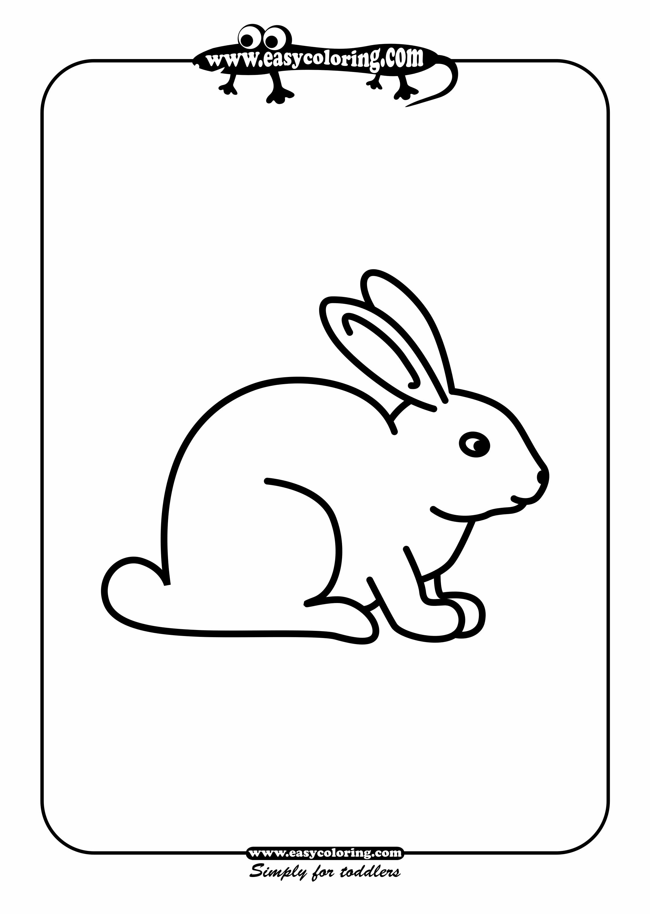 rabbit easy coloring animals - Easy Animal Coloring Pages