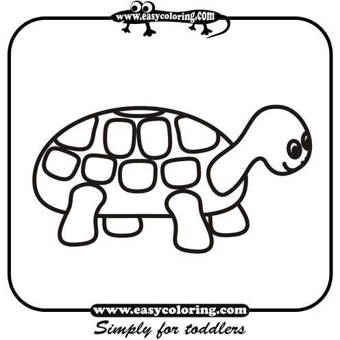 Turtle - Simple coloring animals | Easy coloring animals for toddlers