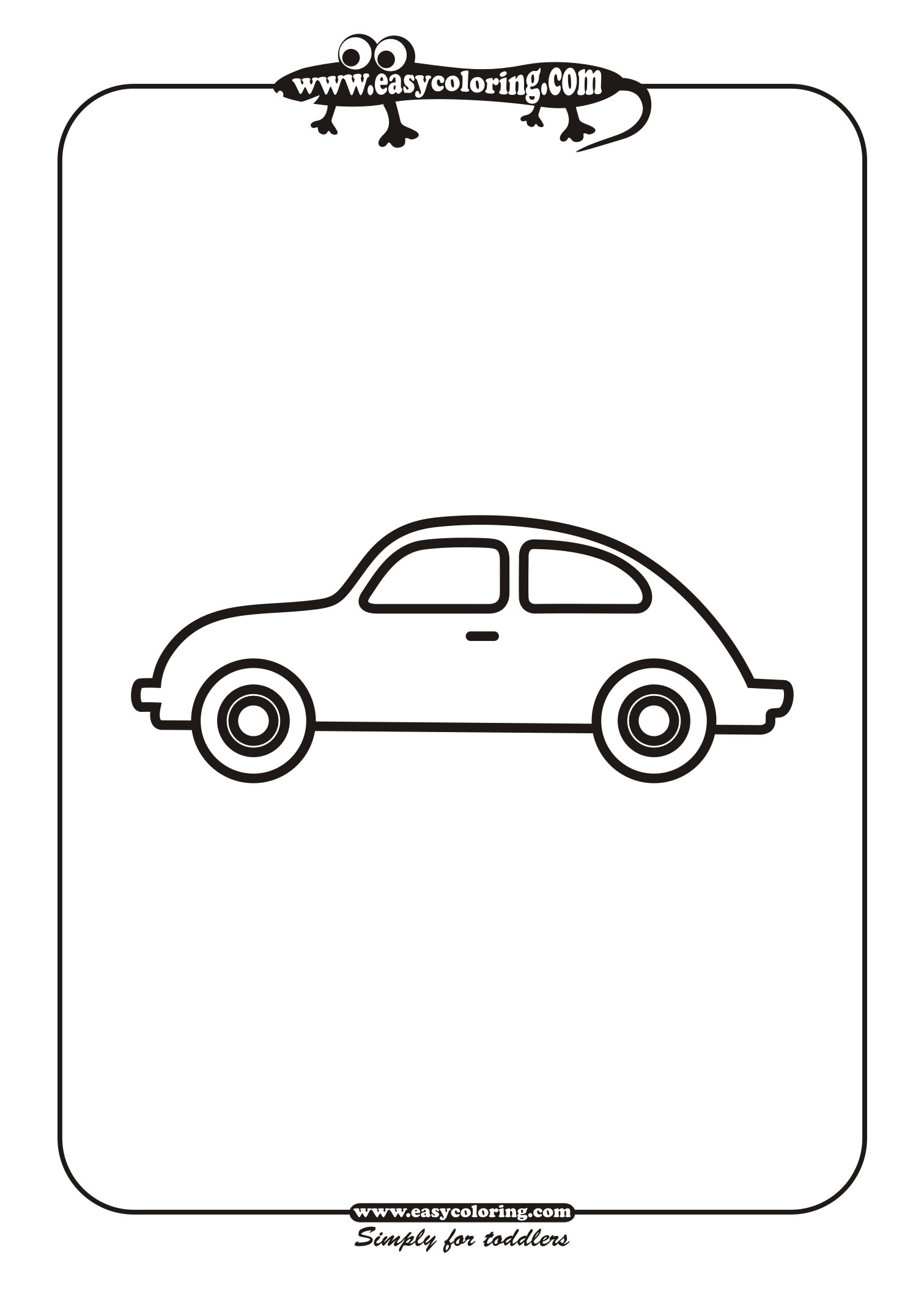 Clip Art Simple Car Coloring Pages car four simple cars easy coloring for toddlers cars