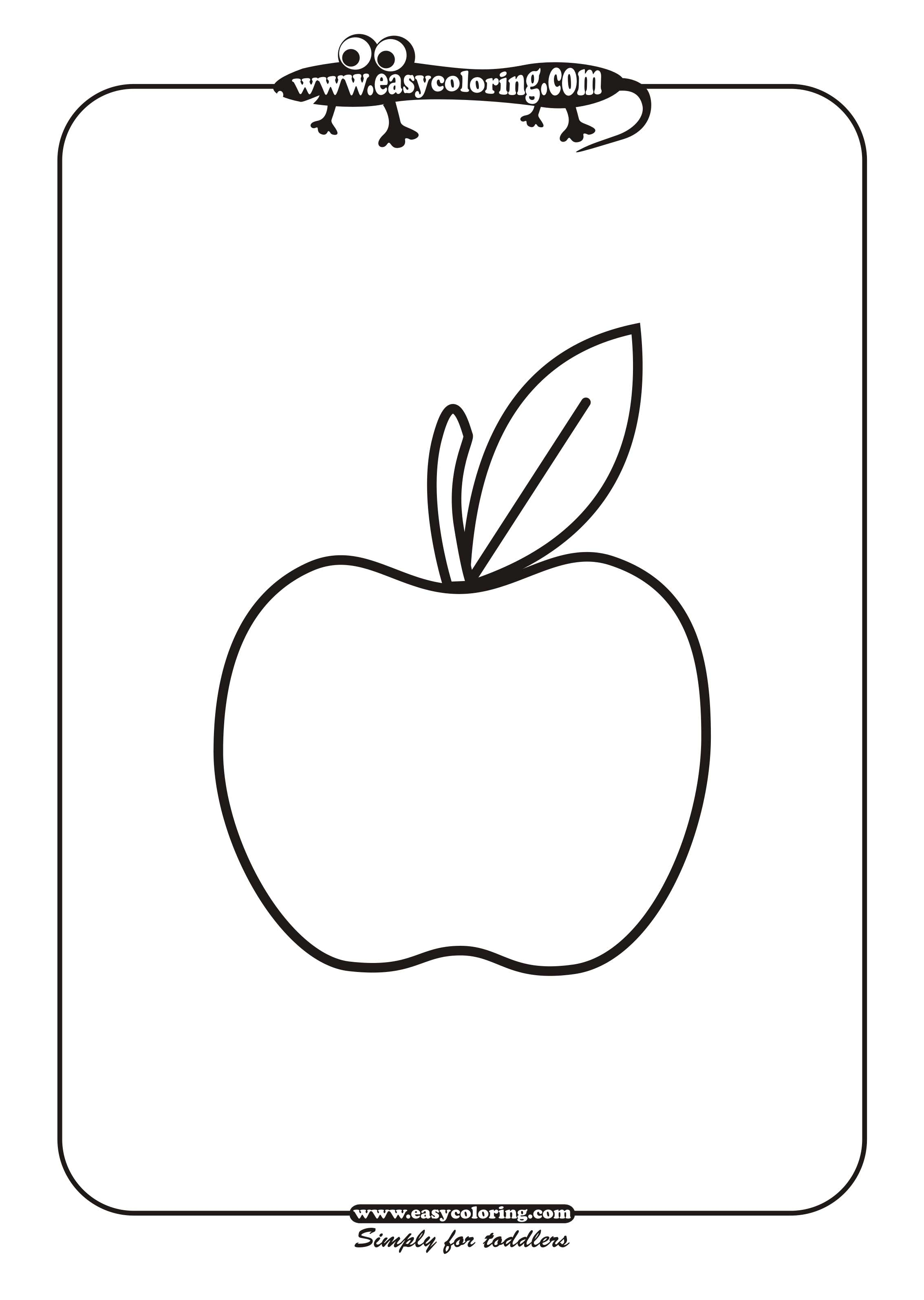 apple simple fruits easy coloring pages for toddlers