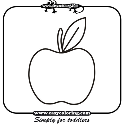 apple simple fruits easy coloring pages for toddlers - Easy Colouring Pages