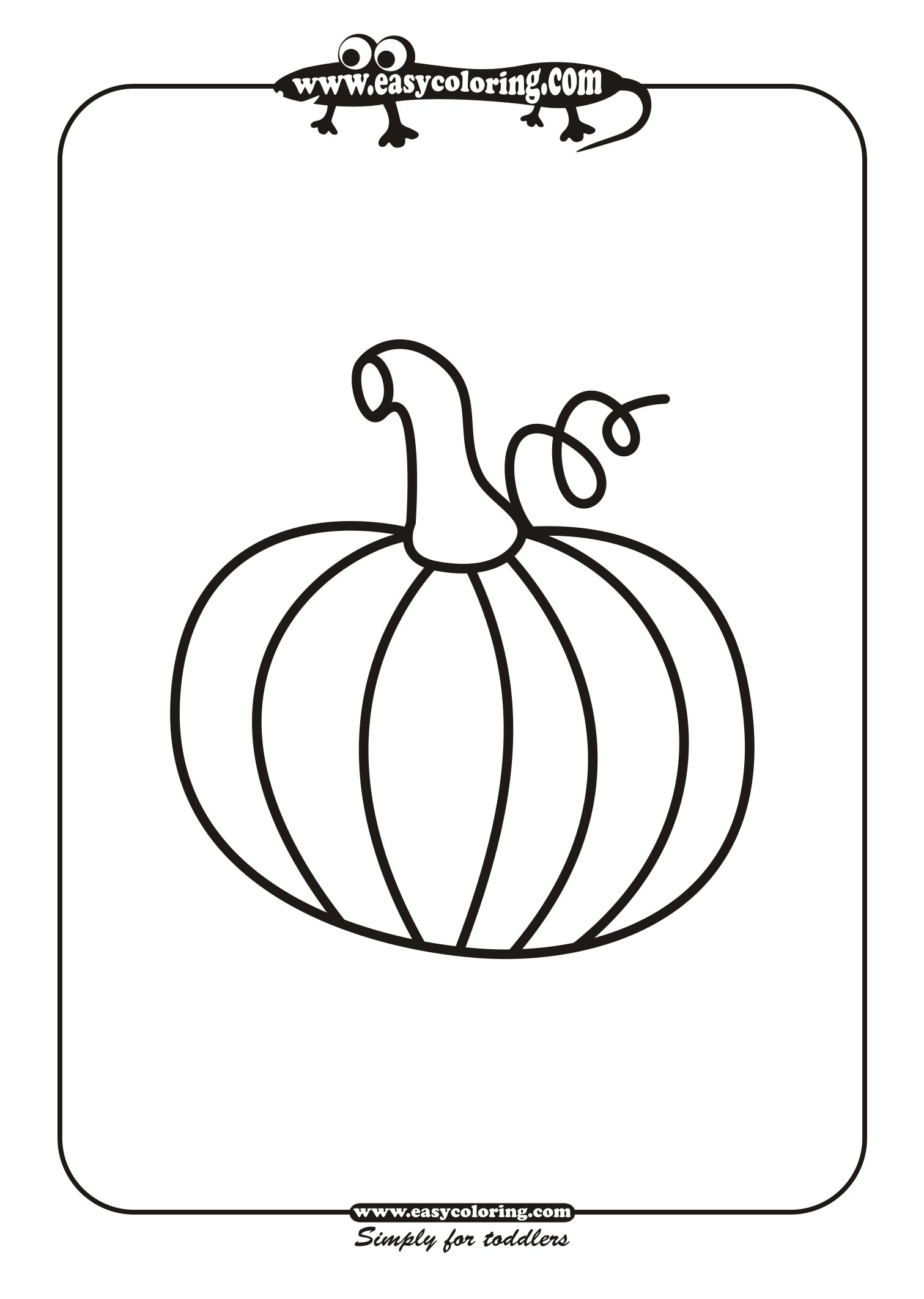 Halloween pumpkin two | Easy coloring pages for toddlers