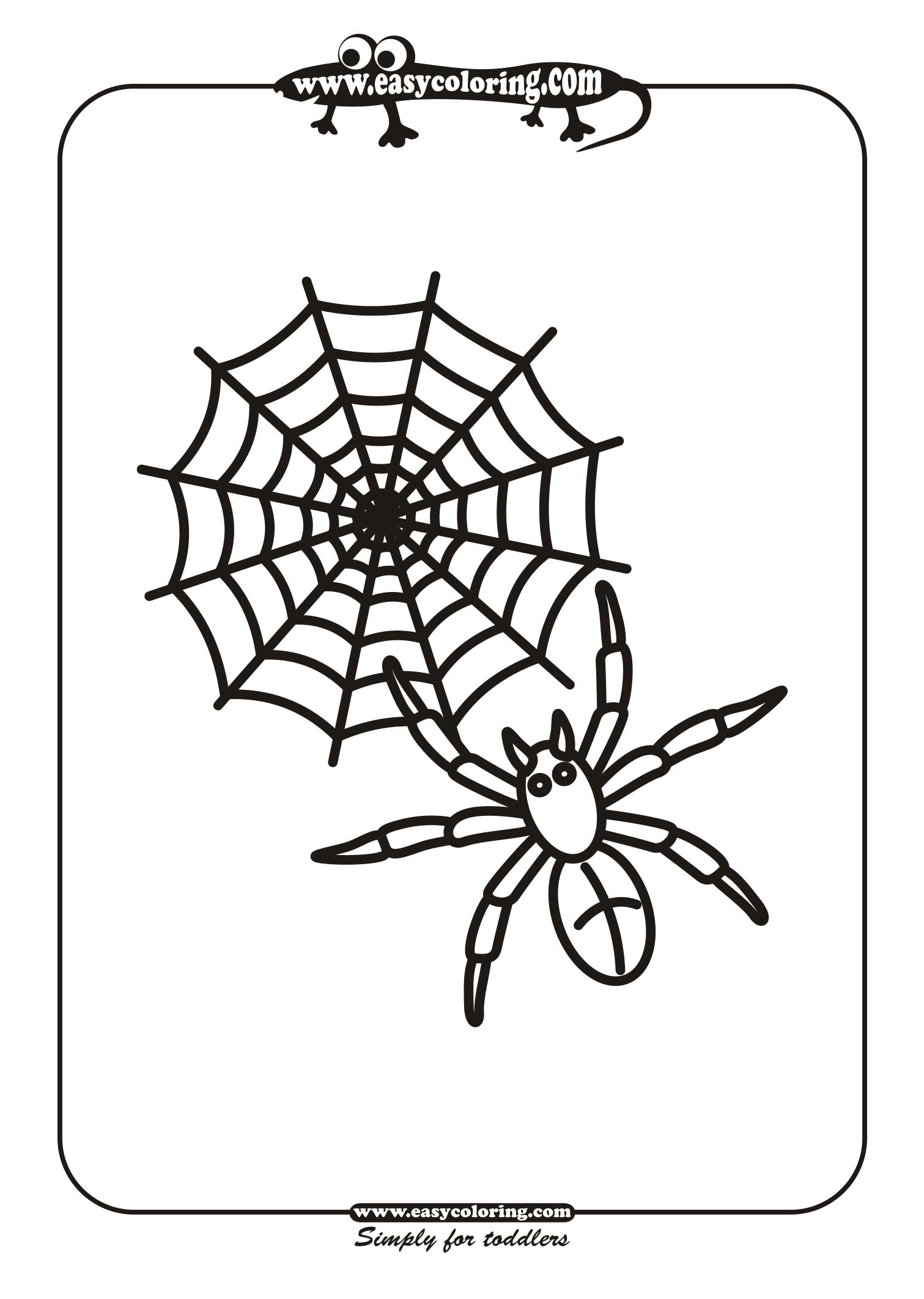 halloween spider one easy coloring pages for toddlers