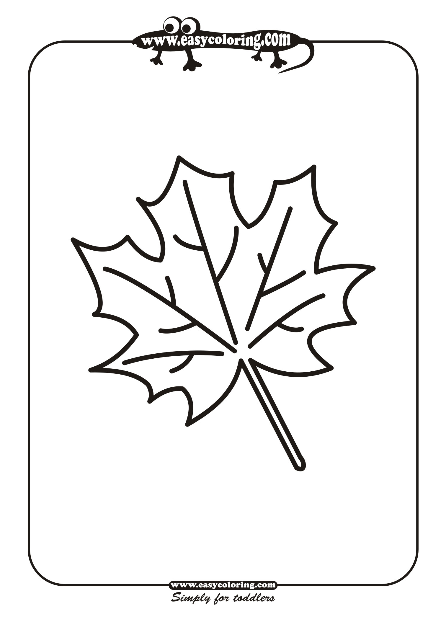 Leaf Six Simple leafs Easy coloring pages for toddlers