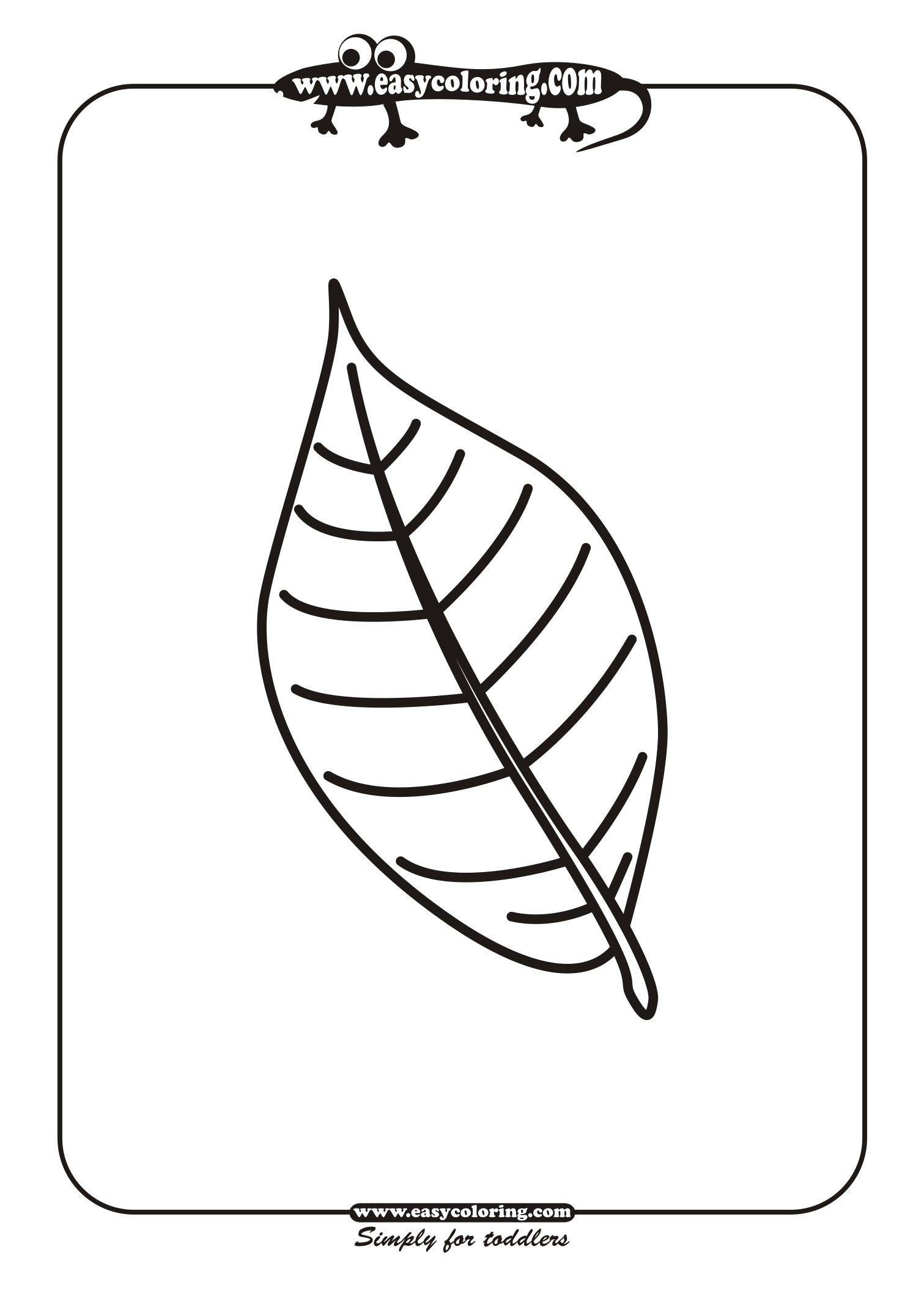 Leaf Two - Simple leafs | Easy coloring pages for toddlers