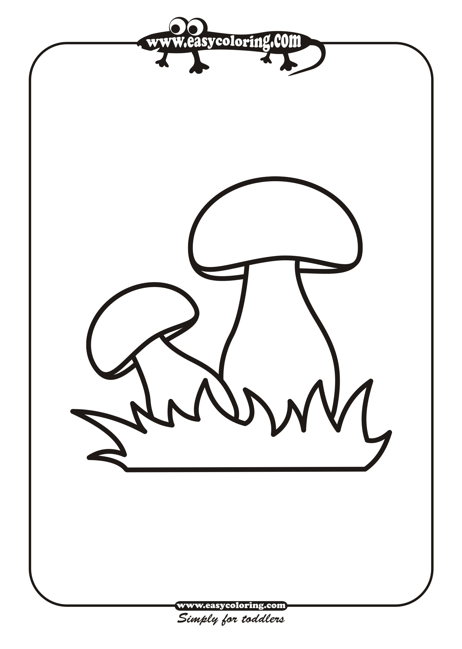 mushroom six simple mushrooms easy coloring pages for toddlers