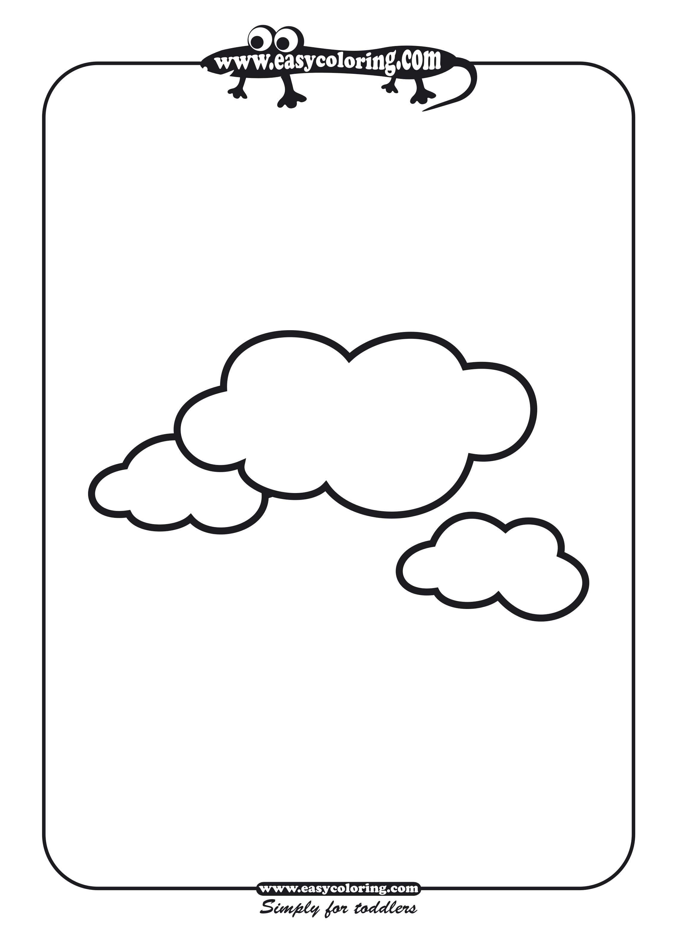 Clouds - Simple shapes | Easy coloring pages for toddlers