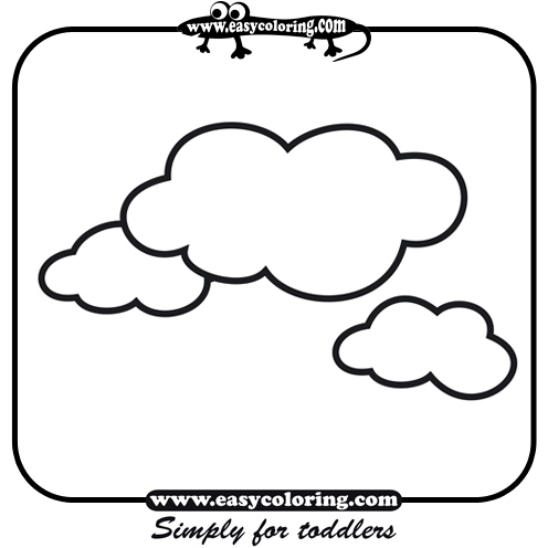 clouds easy coloring shapes - Coloring Pages Toddlers Shapes