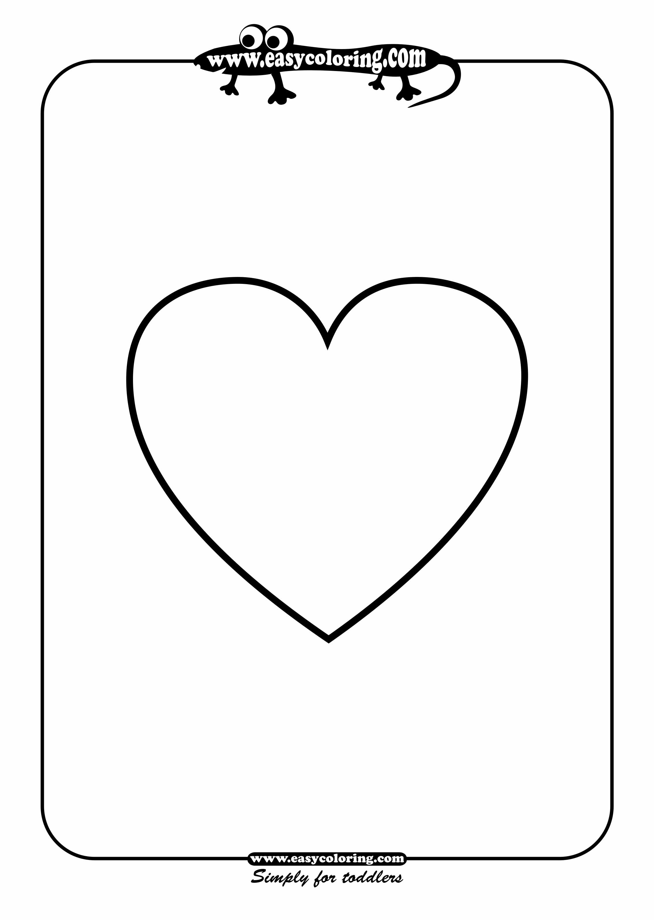 heart shaped coloring pages. Heart  Easy coloring shapes Simple pages for toddlers