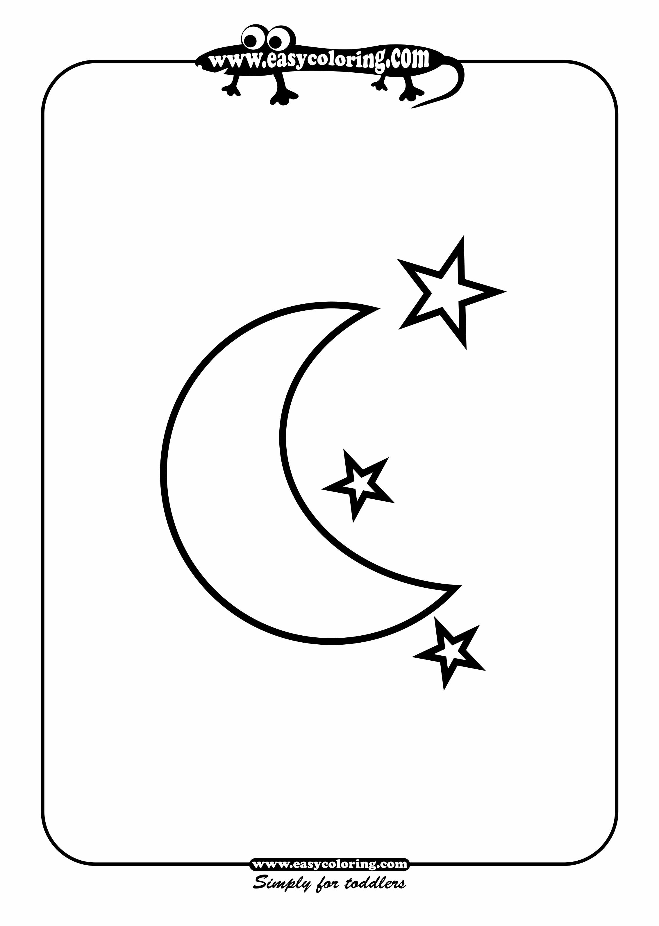 Moon and stars Simple shapes Easy coloring pages for toddlers