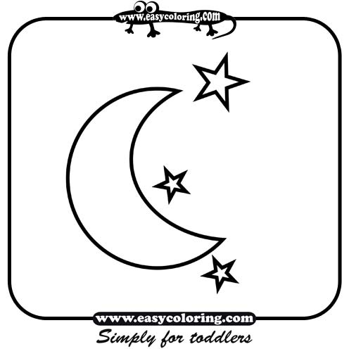 moon and stars easy coloring shapes