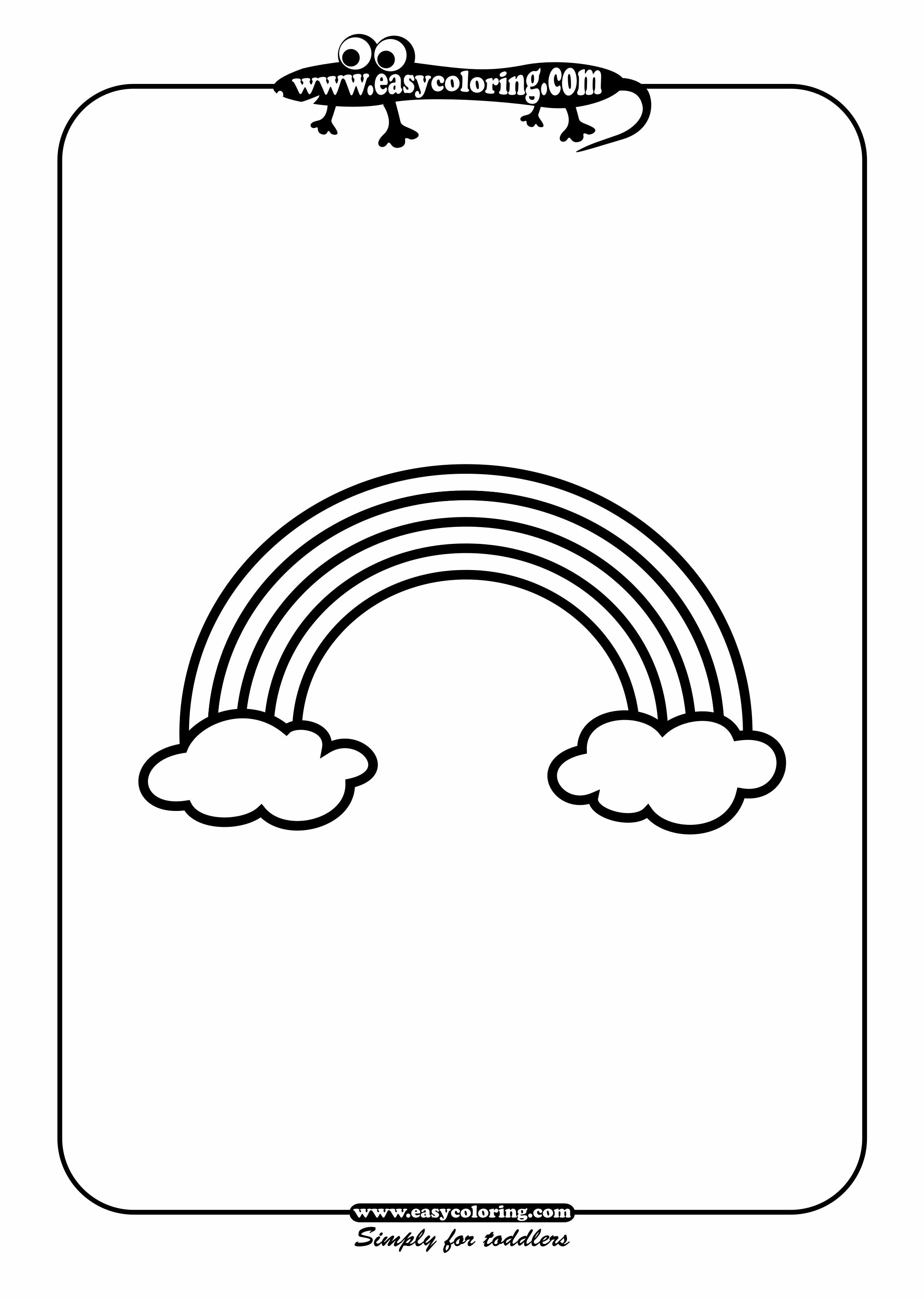 rainbow simple shapes easy coloring pages for toddlers