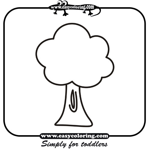 Tree Three Simple Trees Easy Coloring Pages For Toddlers Basic Tree Coloring Page
