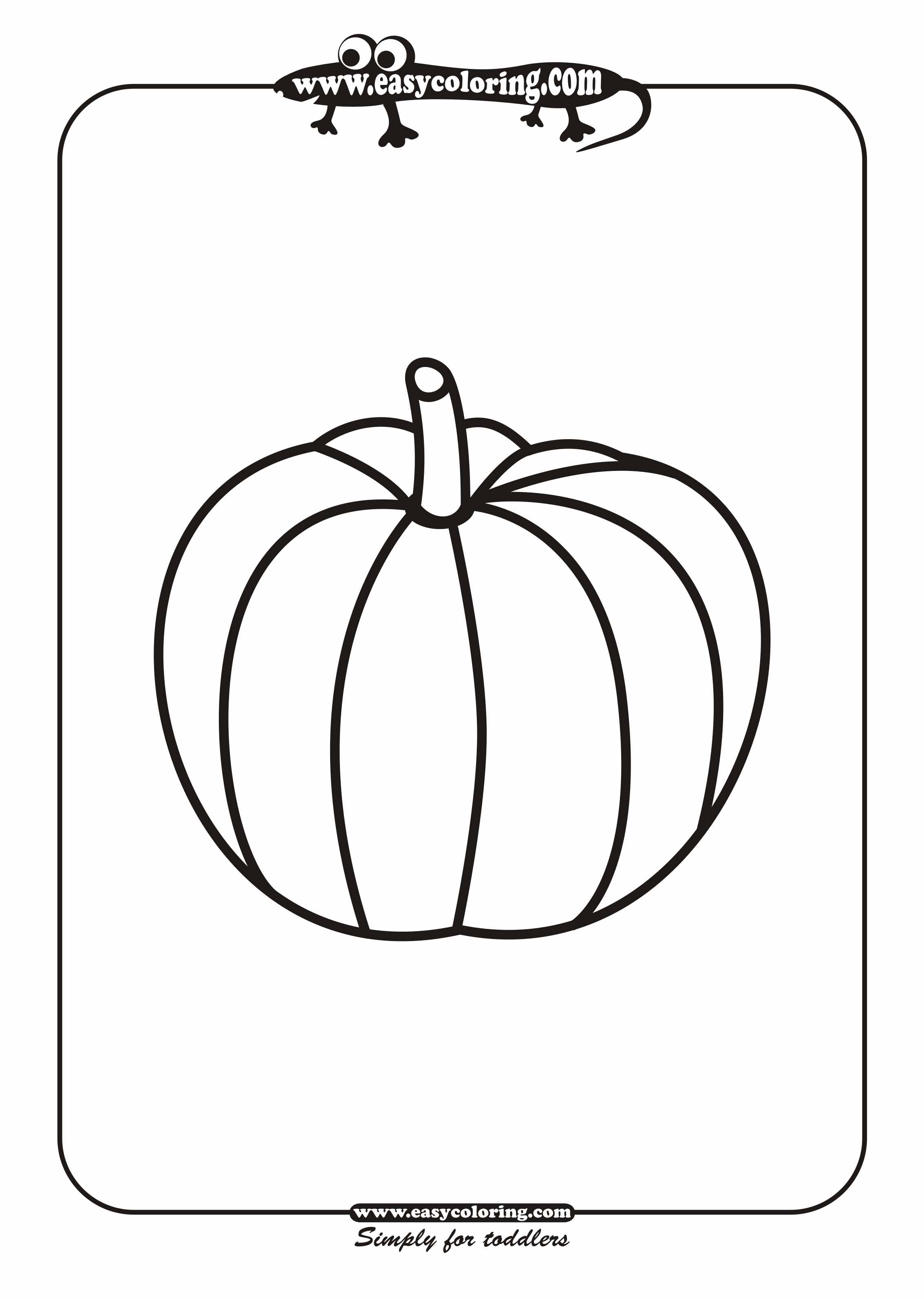 Easy coloring pages for toddlers - Pumpkin Easy Coloring Vegetables